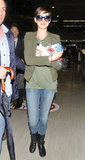 Anne Hathaway left the Narita airport.