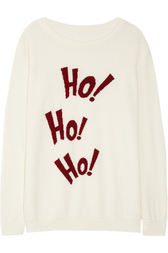 How cool is Lot 78's Ho Ho Ho Knitted Sweater ($325)? The font looks similar to the one used in How the Grinch Stole Christmas.