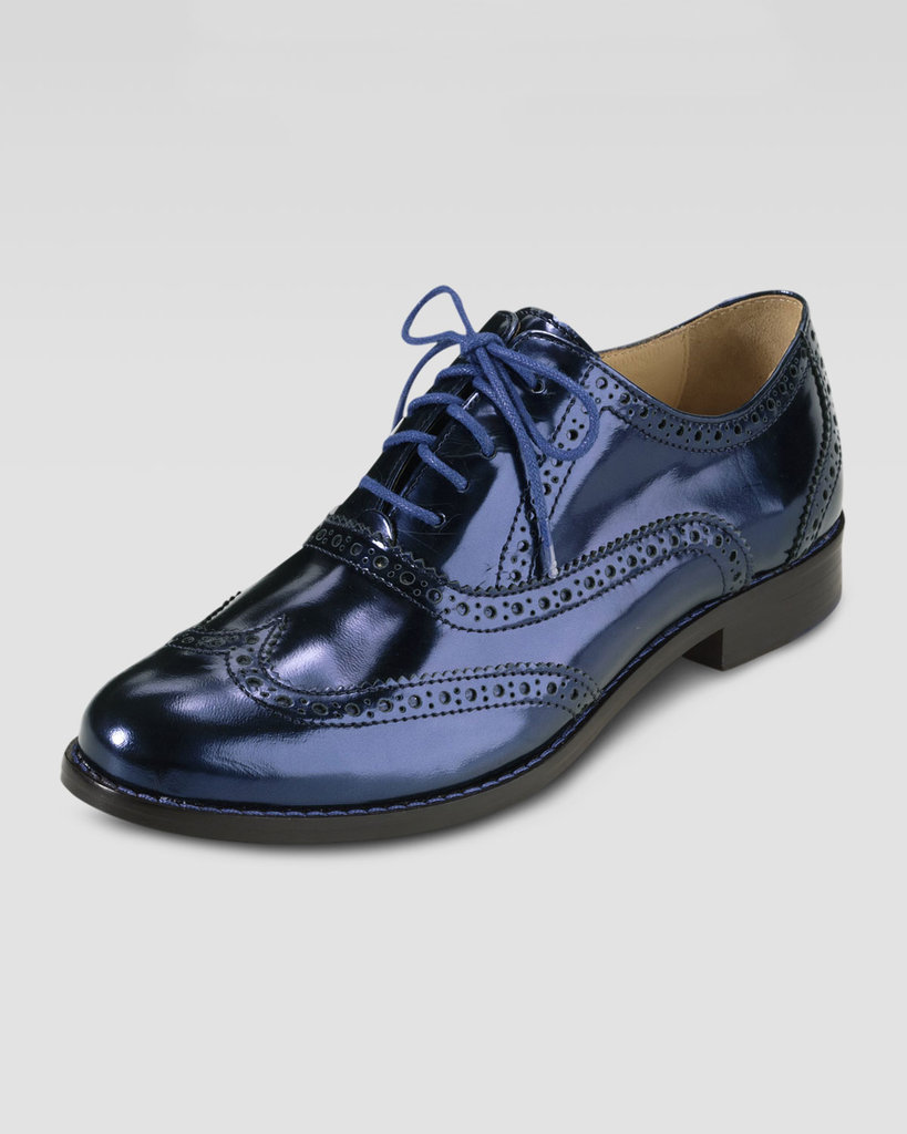 The sleek blue hue of these Cole Haan lace-up oxfords ($248) would look especially cute with a softer dress to balance their masculine appeal.