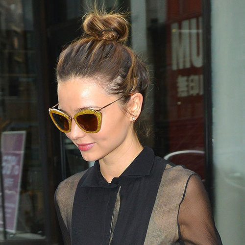 Miranda Kerr on the Street in Miu Miu Glitter Sunglasses