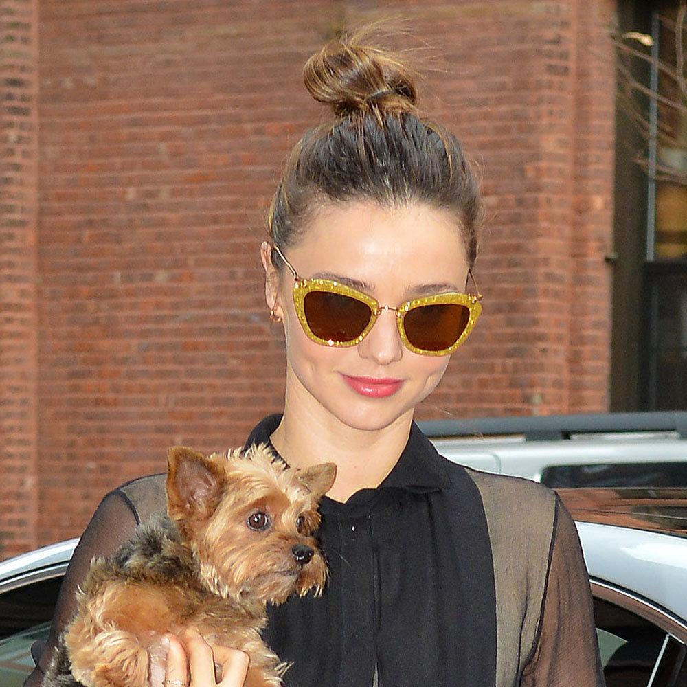 Off-Duty Beauty: Miranda Kerr's Effortless Top Knot