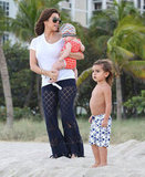 Kourtney Kardashian, Mason, and Penelope went to the beach in Miami.