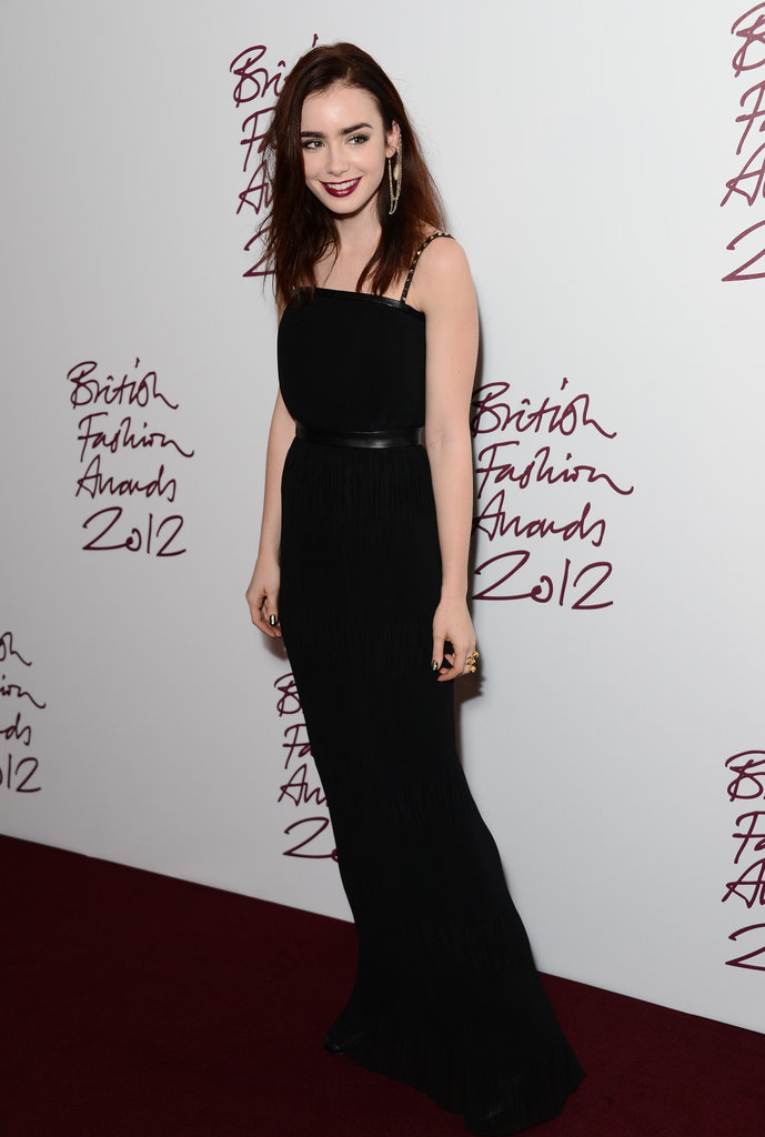 Lily Collins hit the red carpet for the British Fashion Awards in London.