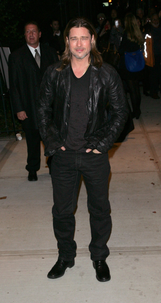 Brad Pitt wore black in NYC.