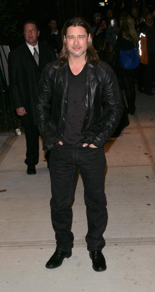Brad Pitt wore black in NYC.