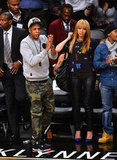 Jay-Z and Beyonce Knowles stepped out to watch the Knicks play the Nets in NYC.