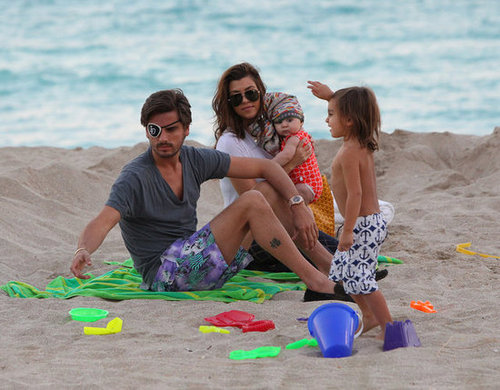 Kourtney Kardashian and her family hung out in the sand in Miami in November 2012.