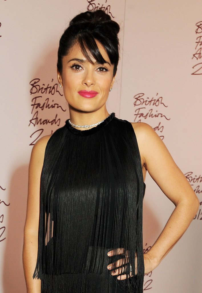 Salma Hayek wore red lips for the British Fashion Awards in London.