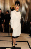 Salma Hayek wore a white overcoat to the British Fashion Awards.