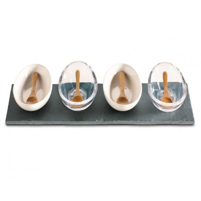 Sauces, olive oils, spices, you name it: condiments look great in this unique dipping bowl set ($39) that comes with wooden spoons plus two ceramic and two glass bowls.