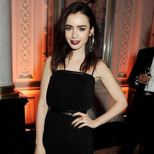Lily Collins Wearing Long Black Gown