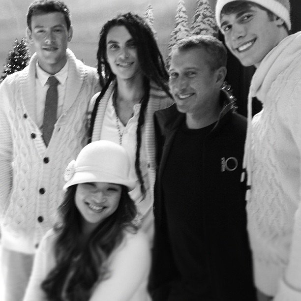It's a white Christmas on the set of Glee. Source: Instagram user adamshankman