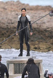 Jennifer Lawrence on the set of Catching Fire.