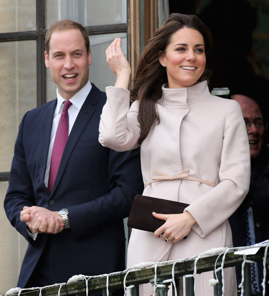 Kate Middleton donned a camel-colored jacket for her official visit to Cambridge with Prince William.