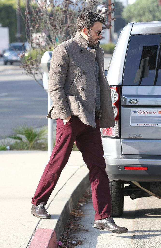 Ben Affleck wore burgundy pants in LA.