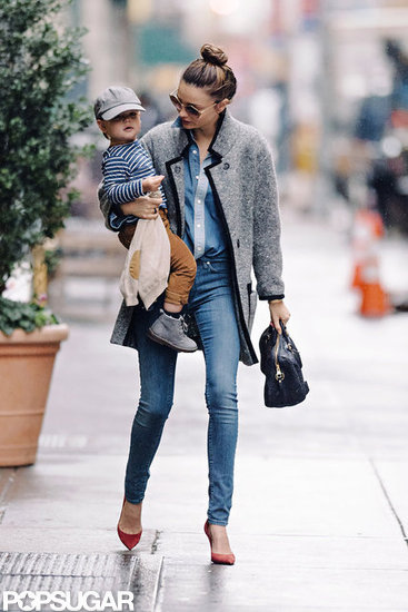 Miranda Kerr wore an Isabel Marant sweater while out with Flynn.
