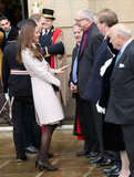 Kate Middleton and Prince William were greeted during their official visit to Cambridge.