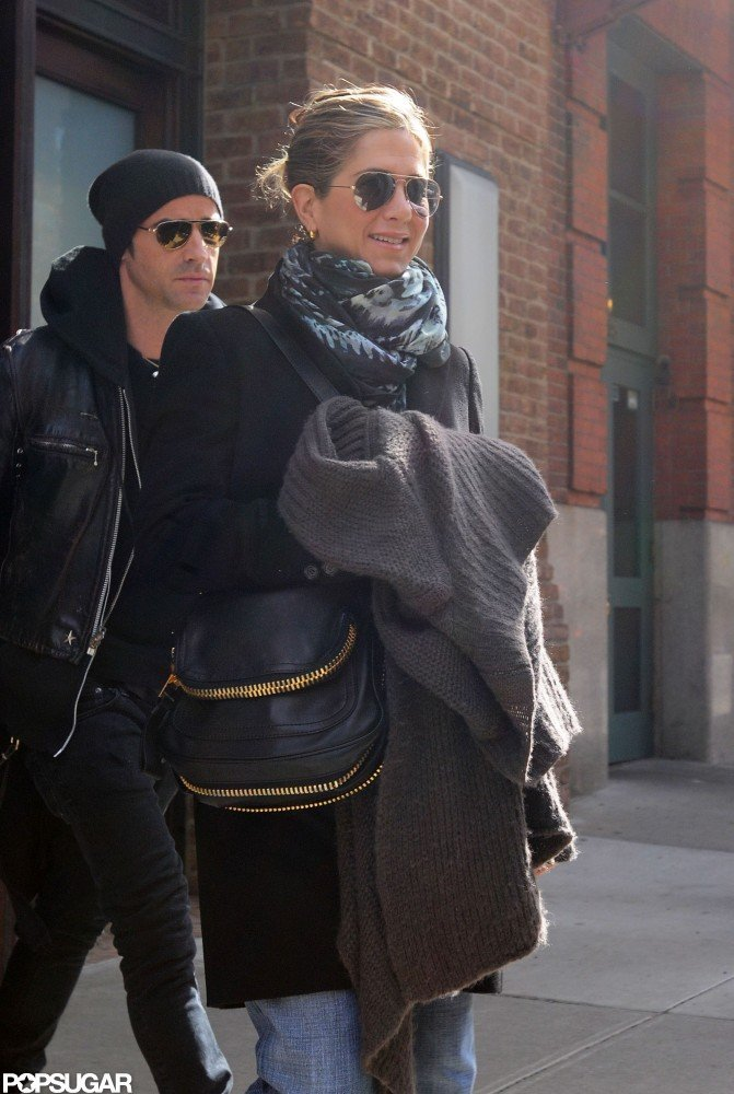 Jennifer Aniston and Justin Theroux left their NYC hotel together in March.