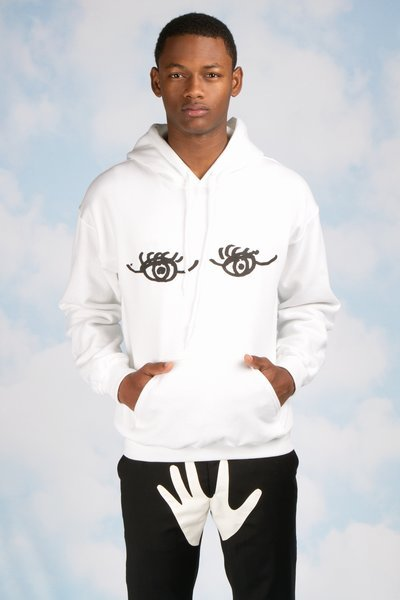 The $75 eyes hoodie is probably one of the most wearable pieces.