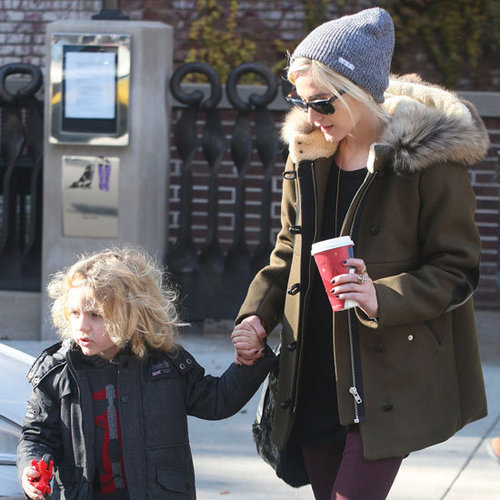 Ashlee Simpson Wearing Fur Trim Coat
