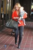 Hilary Duff carried Luca Comrie.