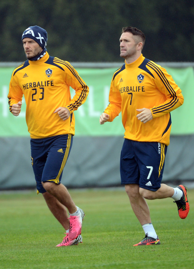 David Beckham practiced on the field with fellow LA Galaxy player Robbie Keane.