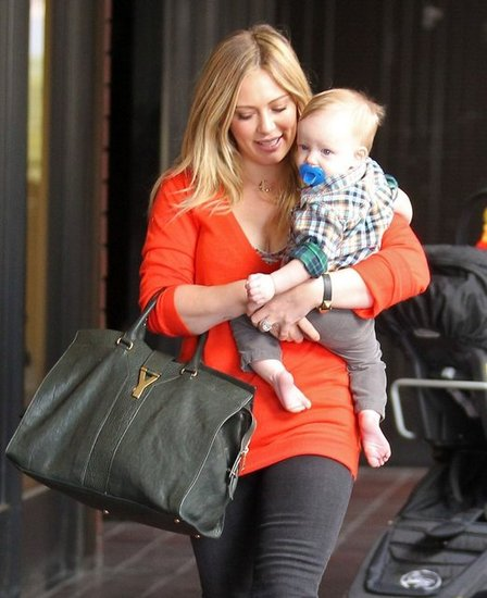 Hilary Duff had her hands full in Sherman Oaks.
