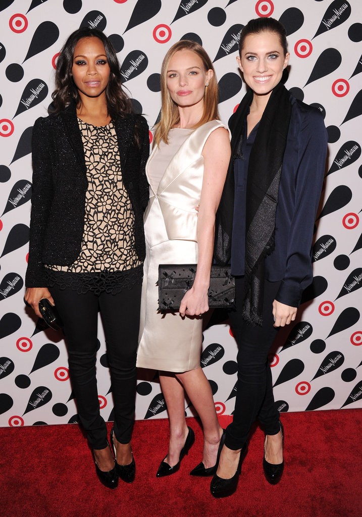 Zoe Saldana, Kate Bosworth, and Allison Williams posed together on the red carpet in celebration of the Target and Neiman Marcus Holiday Collection launch in NYC.
