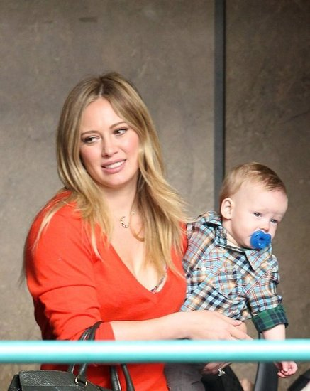 Hilary Duff held Luca Comrie in Sherman Oaks.