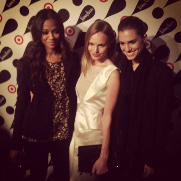 It was a big night for Zoe Saldana, Kate Bosworth, and Allison Williams, who hit the red carpet together at the Target x Neiman Marcus launch event. Source: Instagram user elleusa