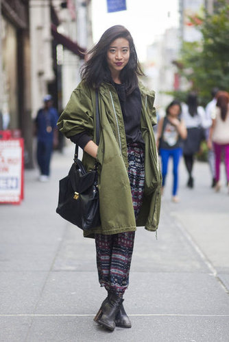 Temper a pair of printed pants with an anorak. Source: Adam Katz Sinding