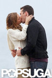 Emily VanCamp and costar Barry Sloane filmed a kissing scene for Revenge.