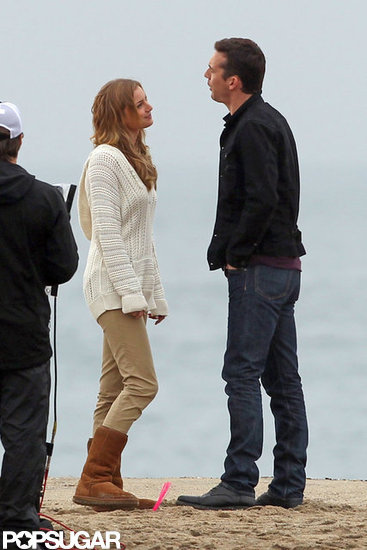 Emily VanCamp hit the beach to film scenes for Revenge with costar Barry Sloane.