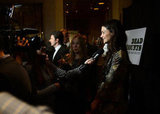 Katie Holmes spoke to reporters at the Dead Accounts after party in NYC.