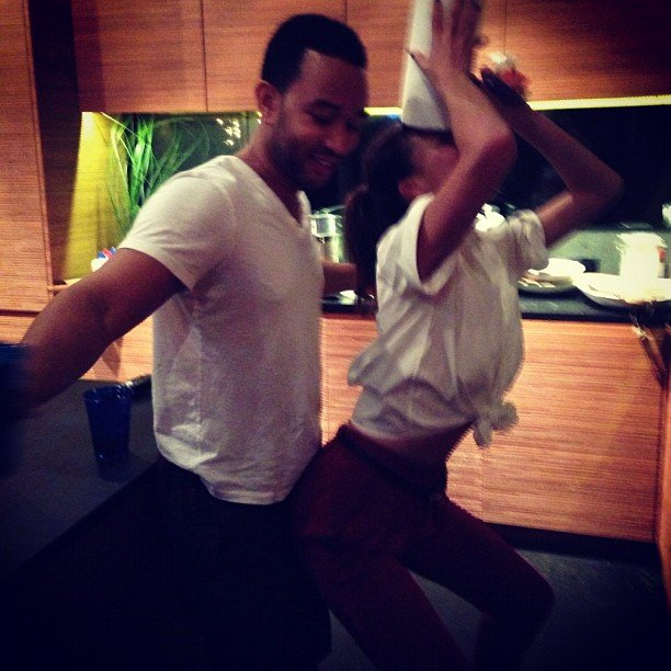 Chrissy and John Legend had an impromptu dance party while celebrating President Obama's win. Source: Instagram user chrissy_teigen