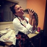 She fooled around with a fish during a cooking class. Source: Instagram user chrissy_teigen