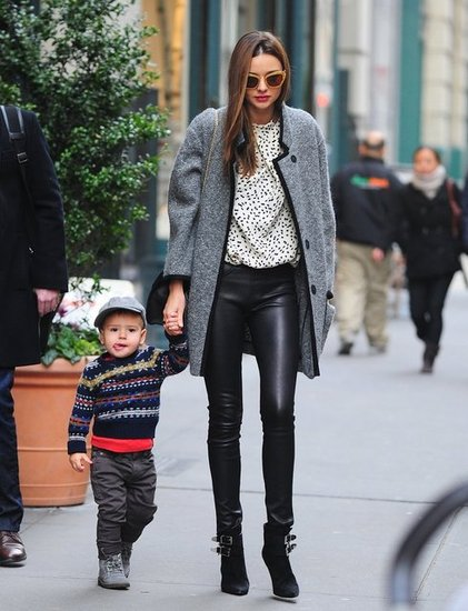 Just because you want to wear leather pants doesn't mean you have to go the edgy route. Case in point: Miranda gave her pair a polished finish with a printed top, Tabitha Simmons boots, and, of course, that gorgeous Isabel Marant coat.
