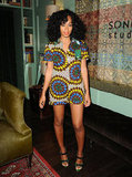 Solange Knowles proved her way with prints once again in a bold-patterned romper. It may be too cold for bare legs now, but take note for your next tropical getaway or Spring's arrival.