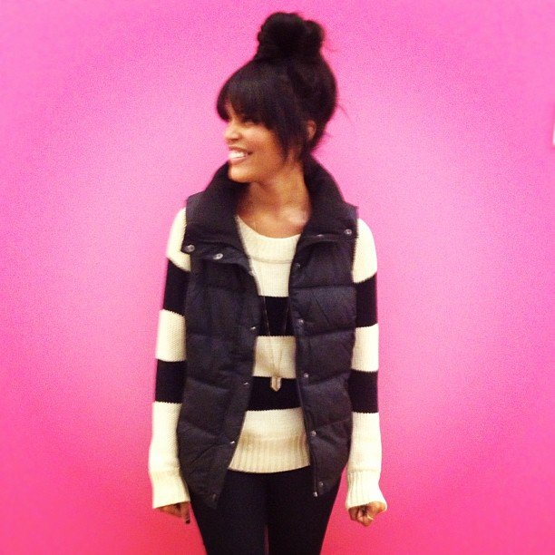 Assistant Editor Brittney Stephens showed off how to layer up with her new puffy vest.