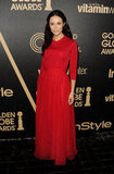 Abigail Spencer glowed in a fiery red gown.
