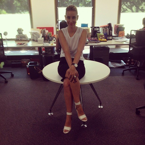 Alison wears Zimmermann wedges, Topshop singlet and Country Road skirt. On her lips? Make Up Store's Redilicious.
