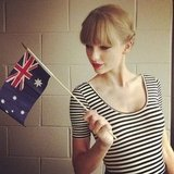 "Taylor waved the Aussie flag in her dressing room on Nov. 29. ""In the dressing room at the ARIA's. Loving Australia,"" she wrote on Instagram. Source: Instagram user taylorswift"