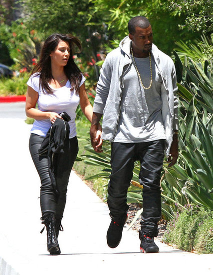 Kim Kardashian and Kanye West went shopping in LA in July 2012.