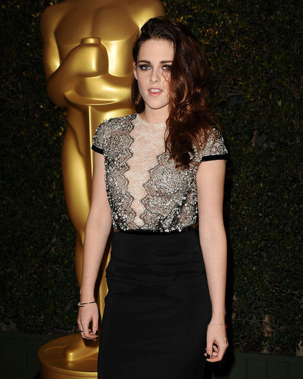 If you look closely, Kristen's black-and-white lace bodice also featured delicate sequin embellishments.