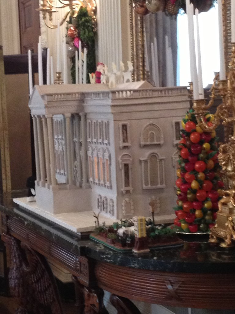 We had an up close look at this year's White House, which Bill Yosses made out of an unleavened bread dough. In the forefront is a replica of the first lady's garden — made of chocolate!
