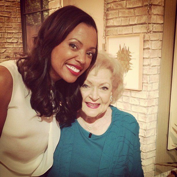 Betty White and Aisha Tyler hung out on the set of The Talk. Source: Instagram user aishatyler