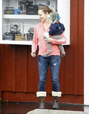 Jennifer Garner had her hands full with Samuel in Brentwood.