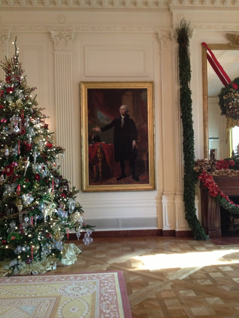 This portrait of George Washington was saved from a fire in the White House in 1814 by First Lady Dolly Madison, who must have been strong — the portrait is huge!