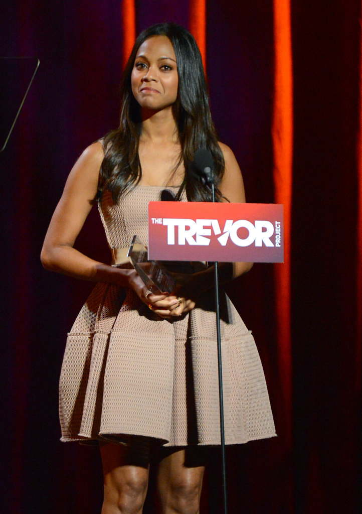 Zoe Saldana attended the Trevor Live benefit in LA.