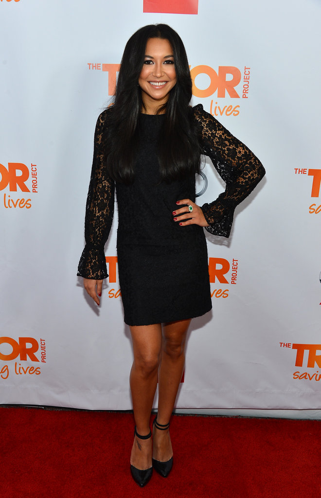 Naya Rivera showed off her stems in a lacy Dolce & Gabbana LBD and ankle-strap pumps.